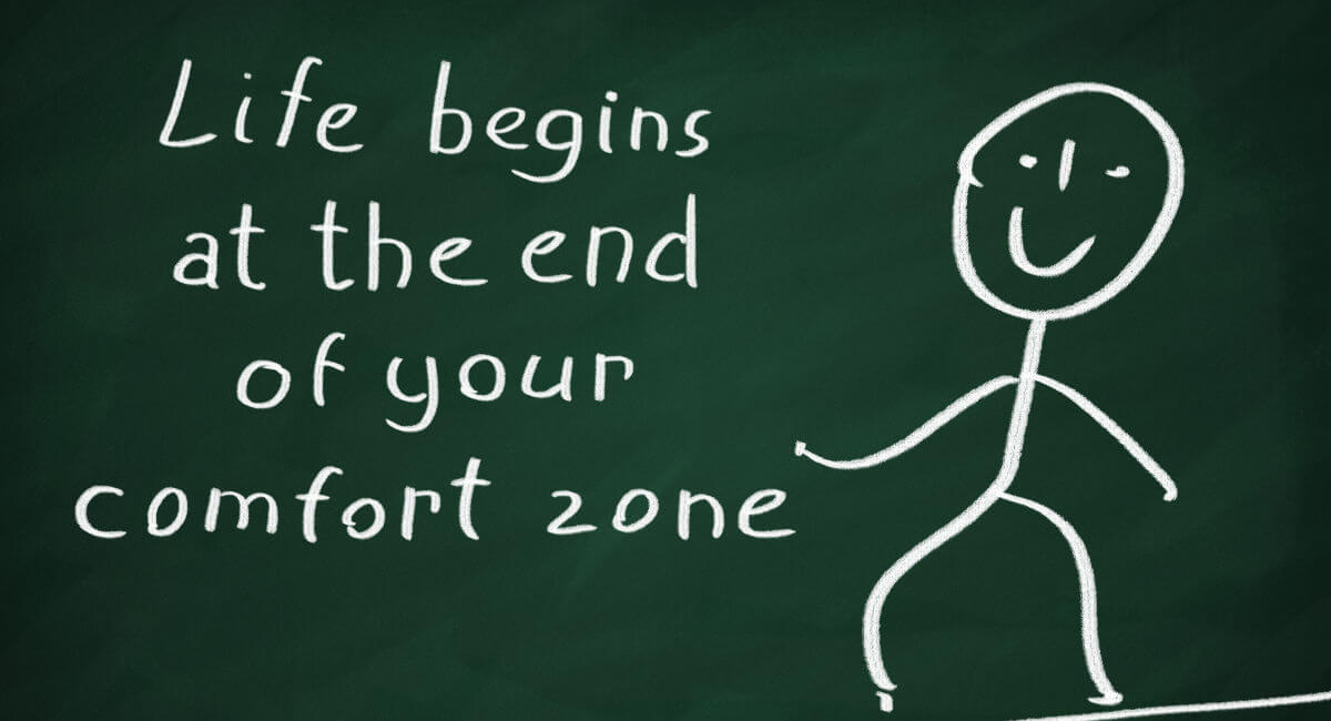 Life begins at the end of your comfort zone drawing