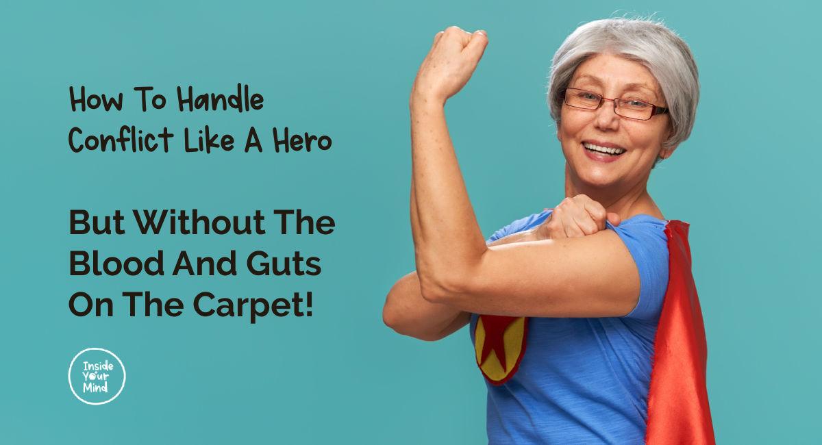 super-hero woman handling conflict