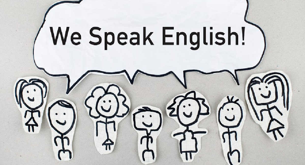 cartoon- we speak English